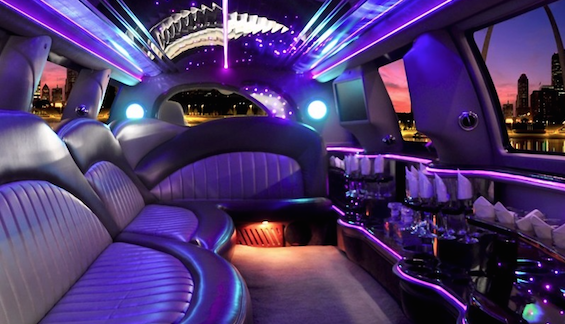 Los Angeles wedding limo interior